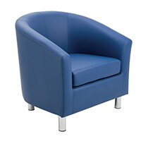 Classic Tub Chair Leather Look PU Upholstered With Metal Leg Design Blue