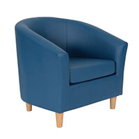Classic Tub Chair Leather Look PU Upholstered With Wooden Leg Design Blue