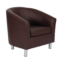 Classic Tub Chair Leather Look PU Upholstered With Metal Leg Design Brown