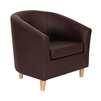 Classic Tub Chair Leather Look PU Upholstered With Wooden Leg Design Brown