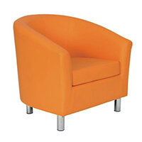 Classic Tub Chair Leather Look PU Upholstered With Metal Leg Design Orange