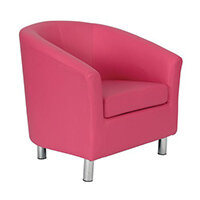 Classic Tub Chair Leather Look PU Upholstered With Metal Leg Design Pink