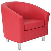 Classic Tub Chair Leather Look PU Upholstered With Metal Leg Design Red