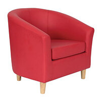 Classic Tub Chair Leather Look PU Upholstered With Wooden Leg Design Red
