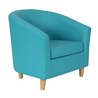 Classic Tub Chair Leather Look PU Upholstered With Wooden Leg Design Sky Blue
