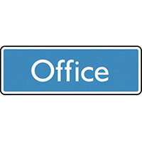 Sign Office 200X75 Polycarbonate White On Blue