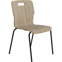 Titan Nurture 4 Leg Black Frame Classroom Chair 465mm Seat Height Grey Oak