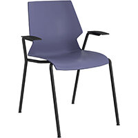 Titan Uni 4 Leg Classroom Chair with Arms 475mm Seat Height Grey Frame & Blue Seat