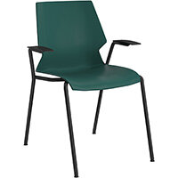Titan Uni 4 Leg Classroom Chair with Arms 475mm Seat Height Grey Frame & Green Seat