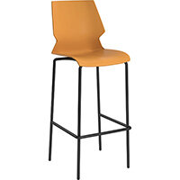 Titan Uni High Classroom Stool with Backrest 475mm Seat Height Grey Frame & Yellow Seat
