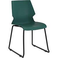 Titan Uni Skid Base Classroom Chair 475mm Seat Height Grey Frame & Green Seat