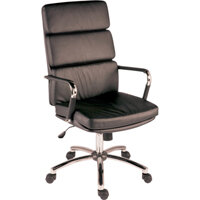 Deco Executive Faux Leather Office Chair In Black