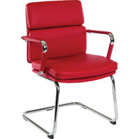 Deco Visitor Faux Leather Office Chair In Red