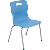 Titan 4 Leg Classroom Chair Size 5 430mm Seat Height (Ages: 11-14 Years) Sky Blue T15-CB - 5 Year Guarantee