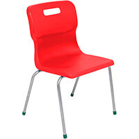 Titan 4 Leg Classroom Chair Size 5 430mm Seat Height (Ages: 11-14 Years) Red T15-R - 5 Year Guarantee