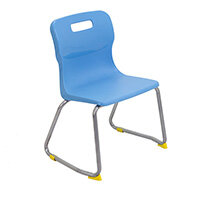 Titan Skid Base Classroom Chair Size 3 350mm Seat Height (Ages: 6-8 Years) Sky Blue T23-CB - 5 Year Guarantee