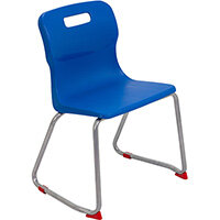 Titan Skid Base Classroom Chair Size 4 380mm Seat Height (Ages: 8-11 Years) Blue T24-B - 5 Year Guarantee