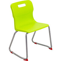 Titan Skid Base Classroom Chair Size 4 380mm Seat Height (Ages: 8-11 Years) Lime T24-L - 5 Year Guarantee