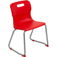 Titan Skid Base Classroom Chair Size 4 380mm Seat Height (Ages: 8-11 Years) Red T24-R - 5 Year Guarantee