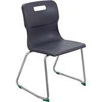 Titan Skid Base Classroom Chair Size 5 430mm Seat Height (Ages: 11-14 Years) Charcoal T25-C - 5 Year Guarantee