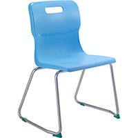 Titan Skid Base Classroom Chair Size 5 430mm Seat Height (Ages: 11-14 Years) Sky Blue T25-CB - 5 Year Guarantee