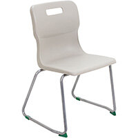 Titan Skid Base Classroom Chair Size 5 430mm Seat Height (Ages: 11-14 Years) Grey T25-GR - 5 Year Guarantee