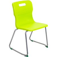 Titan Skid Base Classroom Chair Size 5 430mm Seat Height (Ages: 11-14 Years) Lime T25-L - 5 Year Guarantee