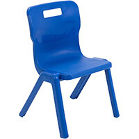 Titan One Piece Classroom Chair Size 3 350mm Seat Height (Ages: 6-8 Years) Blue T3-B - 20 Year Guarantee