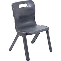 Titan One Piece Classroom Chair Size 3 350mm Seat Height (Ages: 6-8 Years) Charcoal T3-C - 20 Year Guarantee