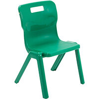 Titan One Piece Classroom Chair Size 3 350mm Seat Height (Ages: 6-8 Years) Green T3-GN - 20 Year Guarantee