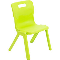 Titan One Piece Classroom Chair Size 3 350mm Seat Height (Ages: 6-8 Years) Lime T3-L - 20 Year Guarantee