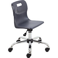 Titan Swivel Junior Classroom Chair with Castors 365-435mm Seat Height (Ages: 6-11 Years) Charcoal T30-C - 5 Year Guarantee