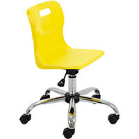Titan Swivel Junior Classroom Chair with Castors 365-435mm Seat Height (Ages: 6-11 Years) Yellow T30-Y - 5 Year Guarantee