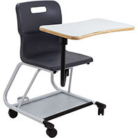 Titan Teach Chair with Writing Tablet 470mm Seat Height (Ages: 14+ Years) Charcoal T300-C - 5 Year Guarantee