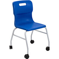 Titan Move 4 Leg Chair with Castors 470mm Seat Height (Ages: 14+ Years) Blue T301-B - 5 Year Guarantee