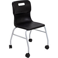 Titan Move 4 Leg Chair with Castors 470mm Seat Height (Ages: 14+ Years) Black T301-BK - 5 Year Guarantee