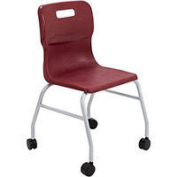Titan Move 4 Leg Chair with Castors 470mm Seat Height (Ages: 14+ Years) Burgundy T301-BU - 5 Year Guarantee