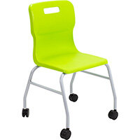 Titan Move 4 Leg Chair with Castors 470mm Seat Height (Ages: 14+ Years) Lime T301-L - 5 Year Guarantee