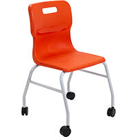 Titan Move 4 Leg Chair with Castors 470mm Seat Height (Ages: 14+ Years) Orange T301-O - 5 Year Guarantee