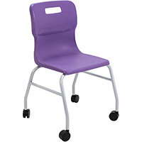 Titan Move 4 Leg Chair with Castors 470mm Seat Height (Ages: 14+ Years) Purple T301-P - 5 Year Guarantee