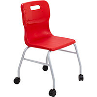 Titan Move 4 Leg Chair with Castors 470mm Seat Height (Ages: 14+ Years) Red T301-R - 5 Year Guarantee