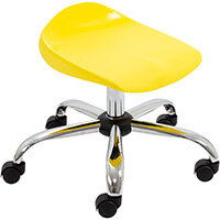 Titan Swivel Junior Classroom Stool with Castors 405-475mm Seat Height (Ages: 6-11 Years) Yellow T32-Y - 5 Year Guarantee