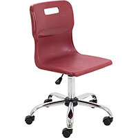 Titan Swivel Senior Classroom Chair with Castors 435-525mm Seat Height (Ages: 11+ Years) Burgundy T35-BU - 5 Year Guarantee