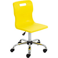 Titan Swivel Senior Classroom Chair with Castors 435-525mm Seat Height (Ages: 11+ Years) Yellow T35-Y - 5 Year Guarantee