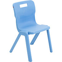 Titan One Piece Classroom Chair Size 4 380mm Seat Height (Ages: 8-11 Years) Sky Blue T4-CB - 20 Year Guarantee