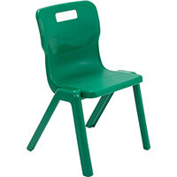 Titan One Piece Classroom Chair Size 4 380mm Seat Height (Ages: 8-11 Years) Green T4-GN - 20 Year Guarantee