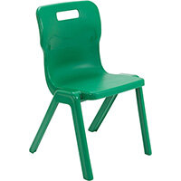 Titan One Piece Classroom Chair Size 5 430mm Seat Height (Ages: 11-14 Years) Green T5-GN - 20 Year Guarantee