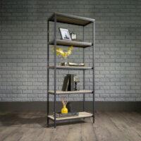 Industrial Style Home Office 4 Shelf BookcaseIn Charter Oak Effect