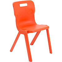 Titan One Piece Classroom Chair Size 6 460mm Seat Height (Ages: 14+ Years) Orange T6-O - 20 Year Guarantee