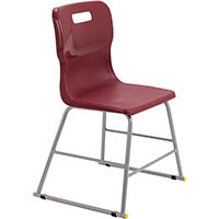 Titan High Classroom Stool with Backrest Size 3 445mm Seat Height (Ages: 6-8 Years) Polly Lipped Seat with Skid Base Burgundy T60-BU - 5 Year Guarantee